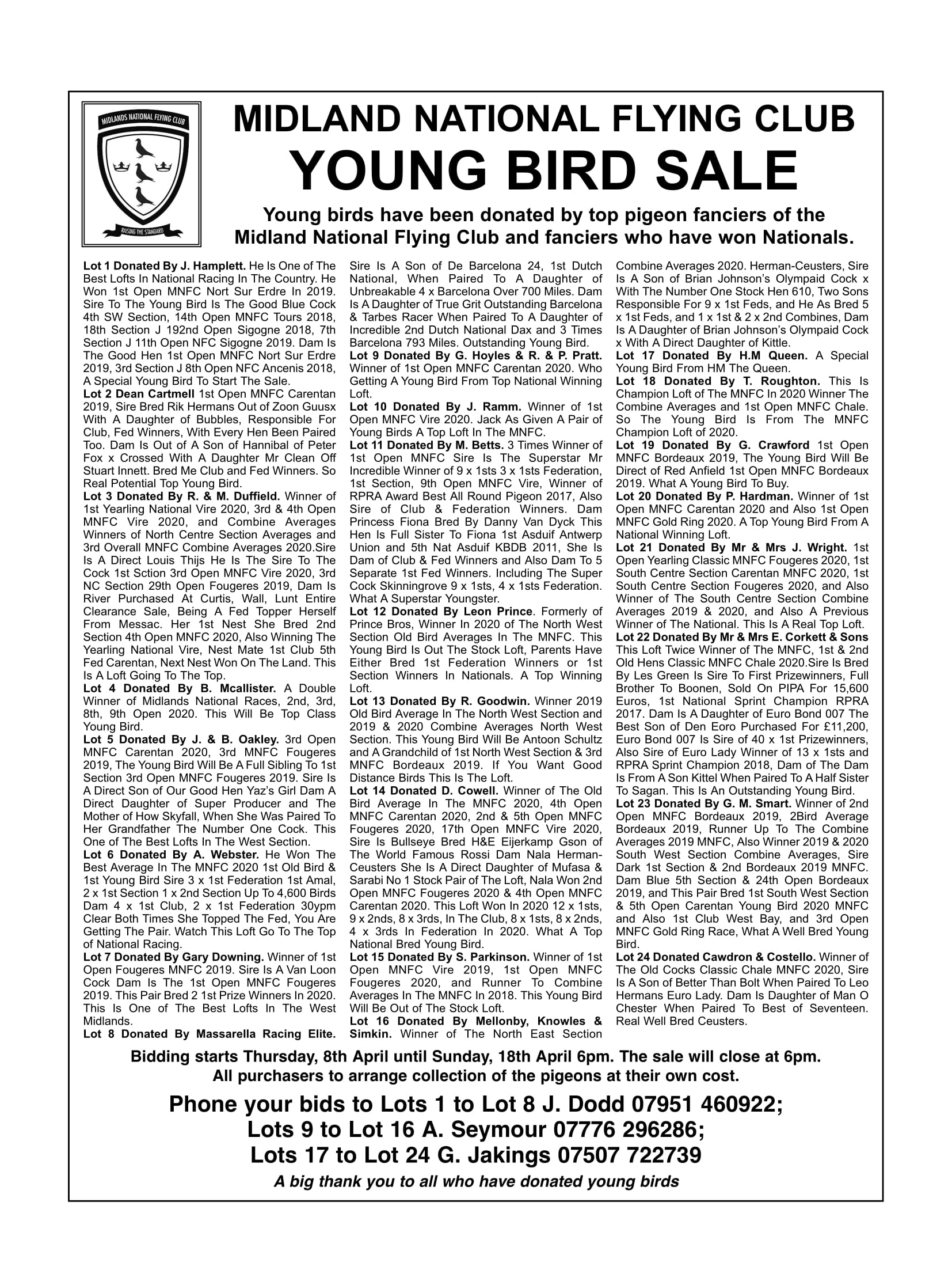 MNFC Young Bird Sale 1p 1